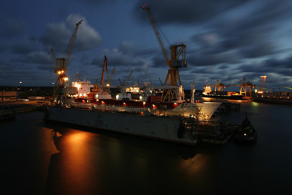 Ship in drydock, Klaipeda, Lithuania